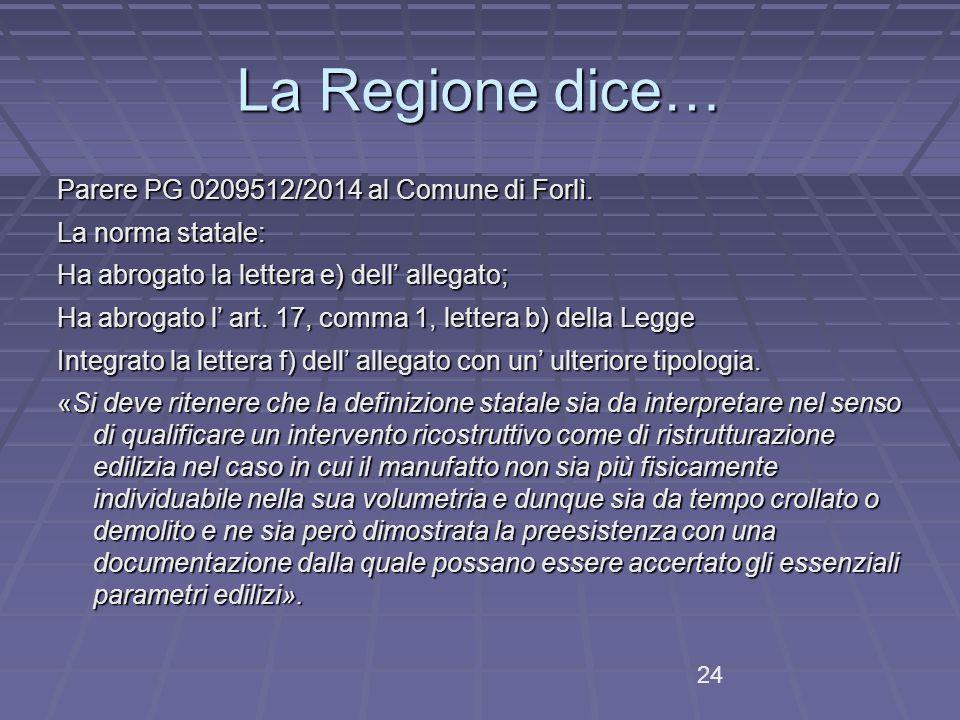 La Regione dice… Parere PG 0209512/2014 al Comune di Forlì.