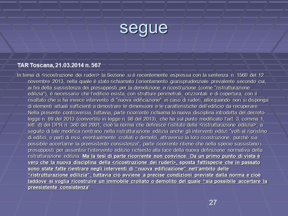 segue TAR Toscana, 21.03.2014 n.