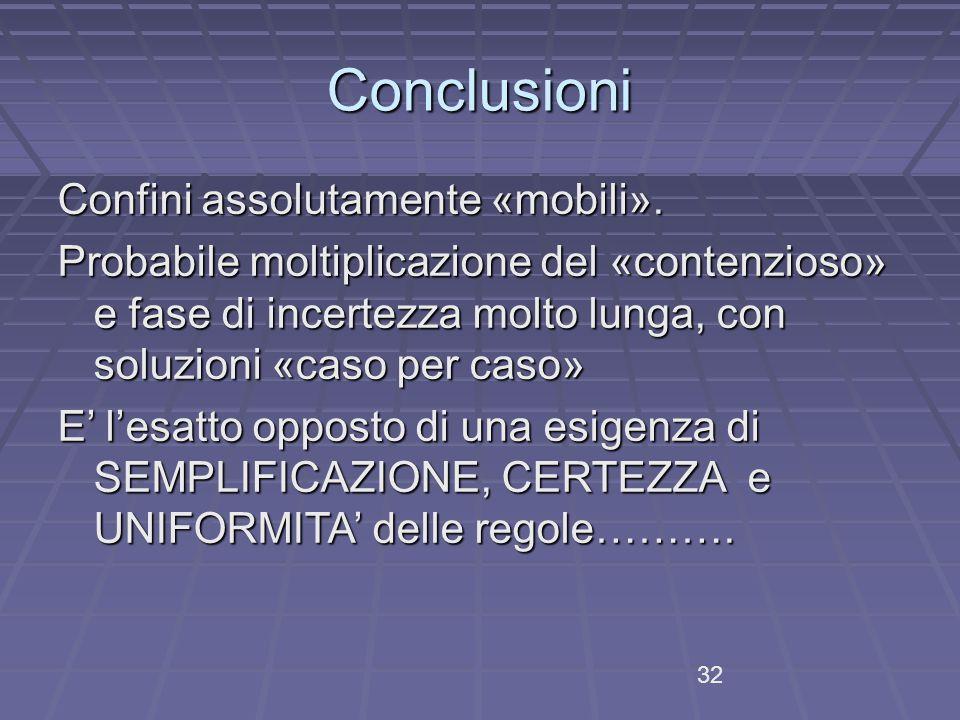 Conclusioni Confini assolutamente «mobili».