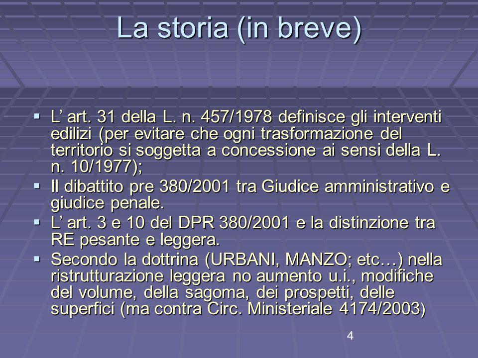 La storia (in breve)  L' art.31 della L. n.