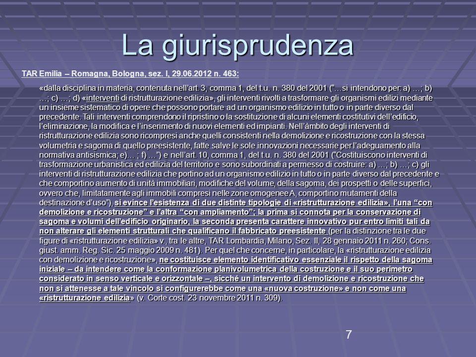 La giurisprudenza TAR Emilia – Romagna, Bologna, sez.