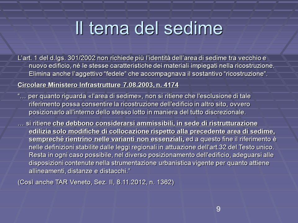 Il tema del sedime L'art.1 del d.lgs.