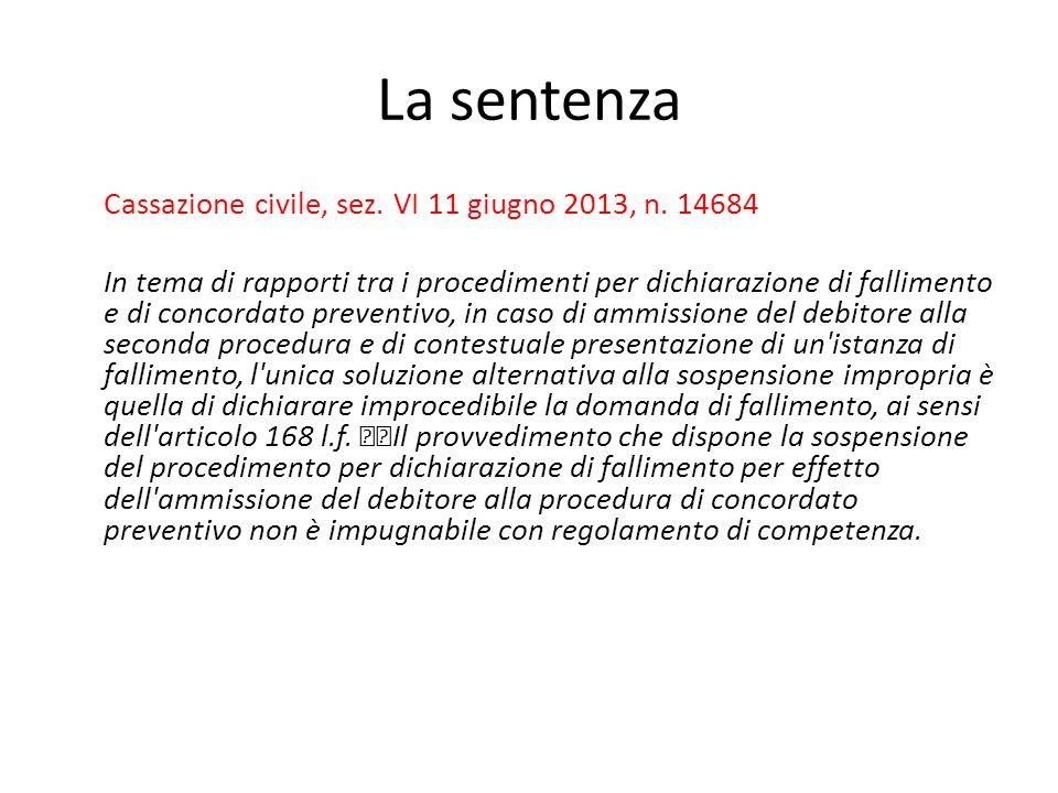 La sentenza Cassazione civile, sez. VI 11 giugno 2013, n. 14684 In tema di rapporti tra i procedimenti per dichiarazione di fallimento e di concordato