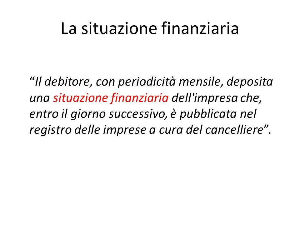 """La situazione finanziaria """"Il debitore, con periodicità mensile, deposita una situazione finanziaria dell'impresa che, entro il giorno successivo, è p"""
