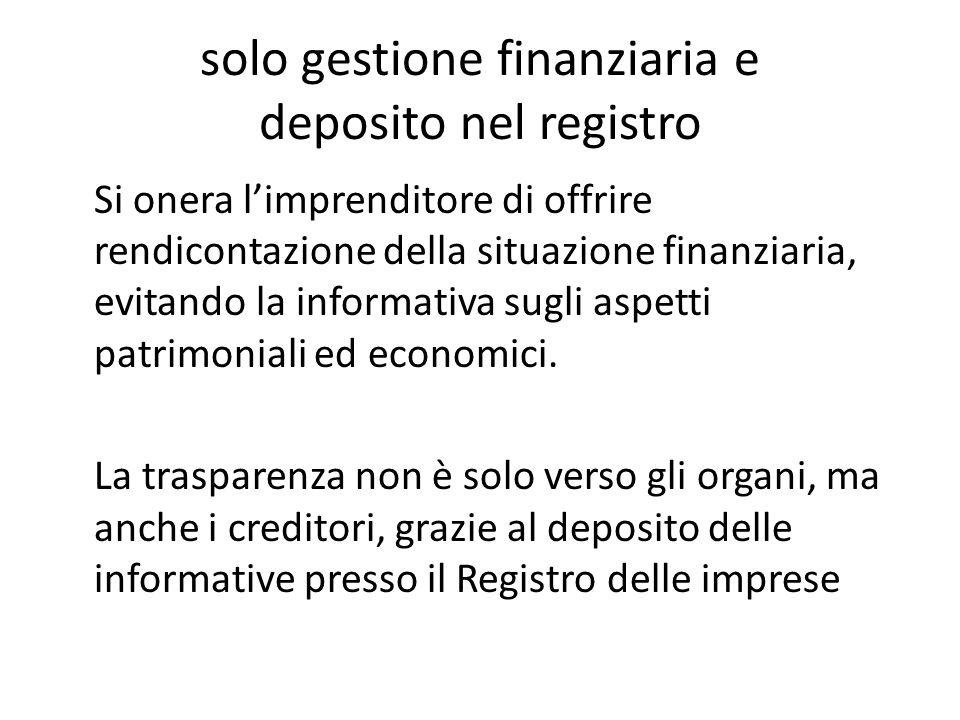 solo gestione finanziaria e deposito nel registro Si onera l'imprenditore di offrire rendicontazione della situazione finanziaria, evitando la informa