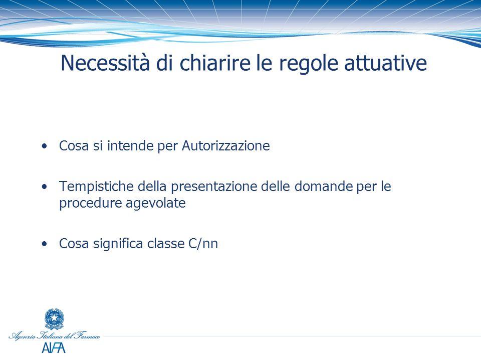 Il Comunicato AIFA Il Comunicato AIFA esplicita: Tempistiche Competenze degli Uffici Procedure autorizzative e classificazione Procedure eccezionali (orfani, rilevanza terapeutica, ospedalieri) Accesso agli atti
