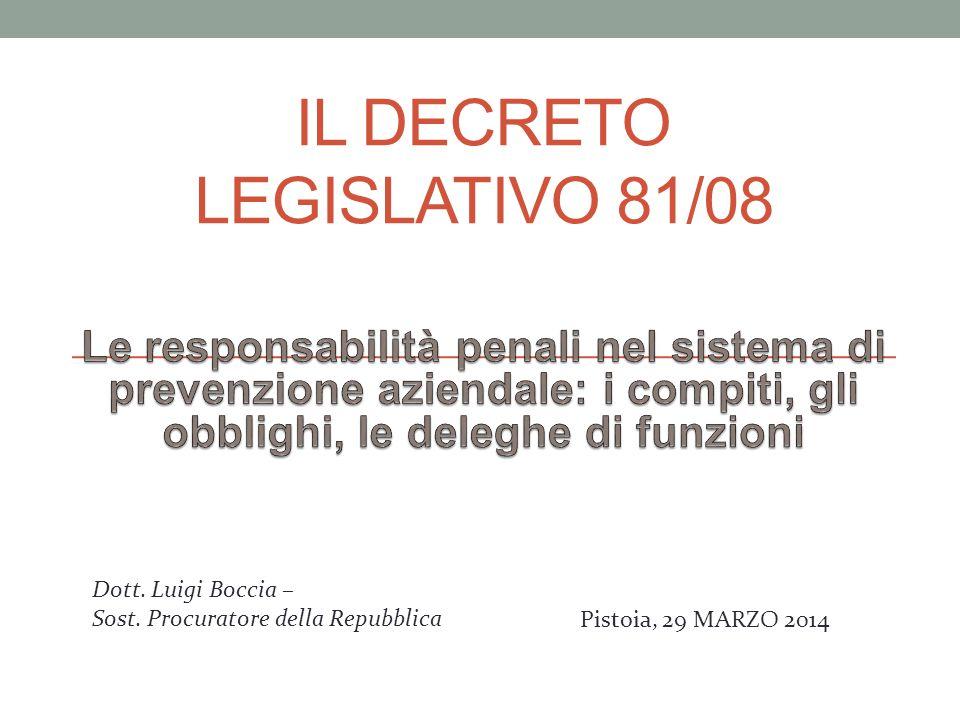 IL DECRETO LEGISLATIVO 81/08 Dott. Luigi Boccia – Sost. Procuratore della Repubblica Pistoia, 29 MARZO 2014