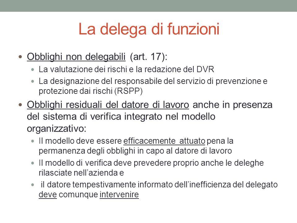 La delega di funzioni Obblighi non delegabili (art. 17): La valutazione dei rischi e la redazione del DVR La designazione del responsabile del servizi