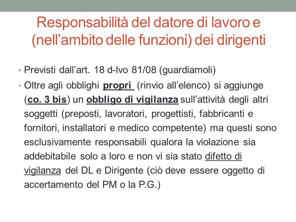 Responsabilità del datore di lavoro e (nell'ambito delle funzioni) dei dirigenti Previsti dall'art. 18 d-lvo 81/08 (guardiamoli) Oltre agli obblighi p