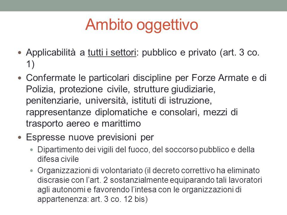 Ambito oggettivo Applicabilità a tutti i settori: pubblico e privato (art. 3 co. 1) Confermate le particolari discipline per Forze Armate e di Polizia