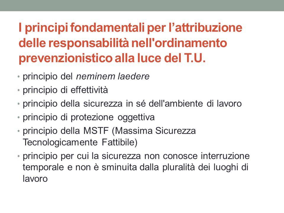 I principi fondamentali per l'attribuzione delle responsabilità nell'ordinamento prevenzionistico alla luce del T.U. principio del neminem laedere pri