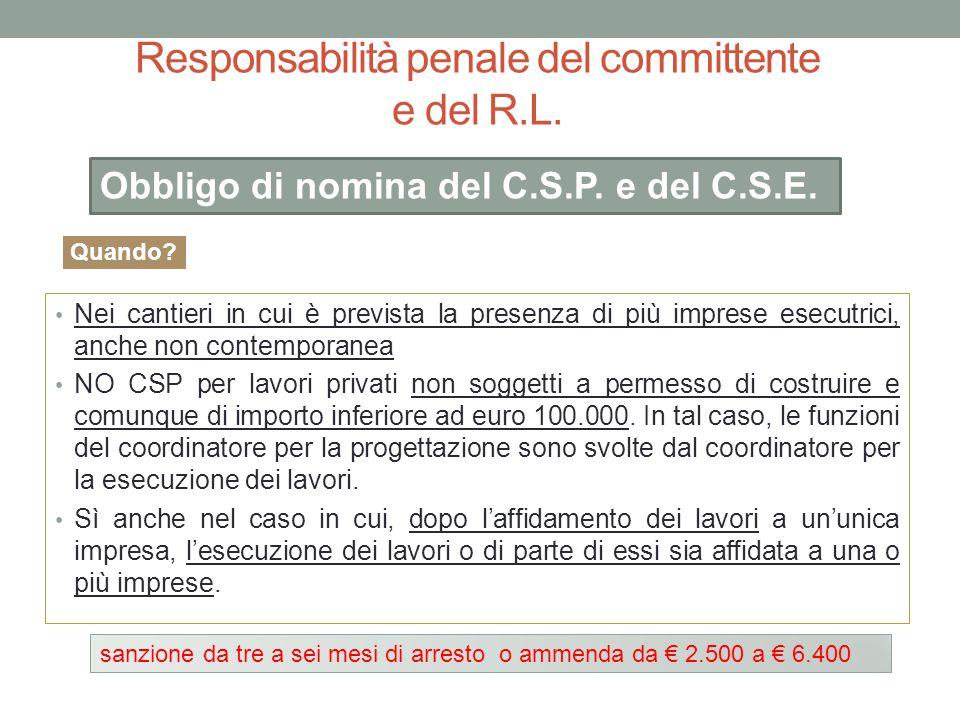 Responsabilità penale del committente e del R.L. Nei cantieri in cui è prevista la presenza di più imprese esecutrici, anche non contemporanea NO CSP