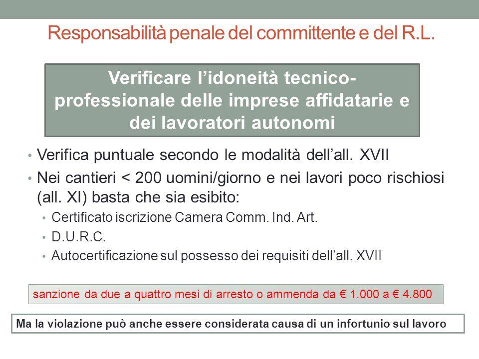 Responsabilità penale del committente e del R.L. Verifica puntuale secondo le modalità dell'all. XVII Nei cantieri < 200 uomini/giorno e nei lavori po