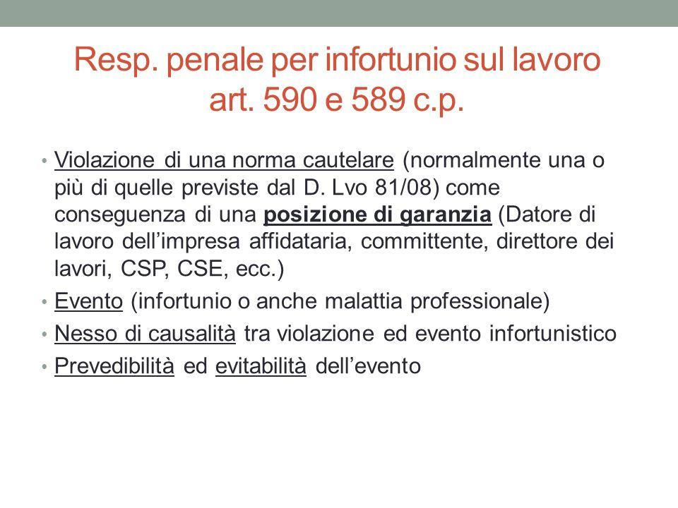 Resp. penale per infortunio sul lavoro art. 590 e 589 c.p. Violazione di una norma cautelare (normalmente una o più di quelle previste dal D. Lvo 81/0