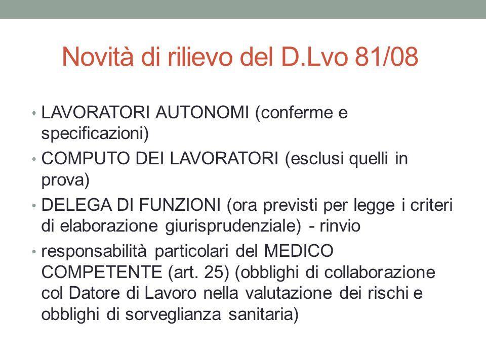 Novità di rilievo del D.Lvo 81/08 LAVORATORI AUTONOMI (conferme e specificazioni) COMPUTO DEI LAVORATORI (esclusi quelli in prova) DELEGA DI FUNZIONI