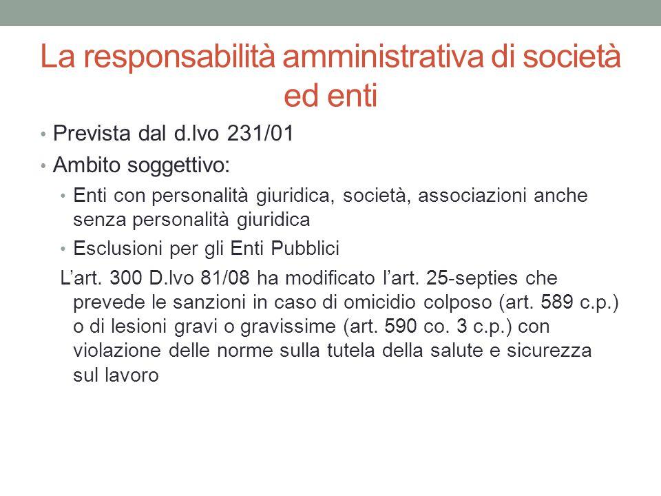 La responsabilità amministrativa di società ed enti Prevista dal d.lvo 231/01 Ambito soggettivo: Enti con personalità giuridica, società, associazioni
