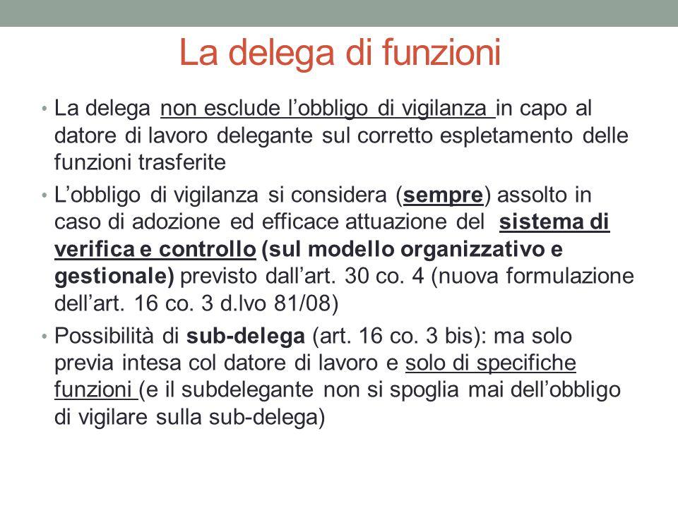 La delega di funzioni La delega non esclude l'obbligo di vigilanza in capo al datore di lavoro delegante sul corretto espletamento delle funzioni tras