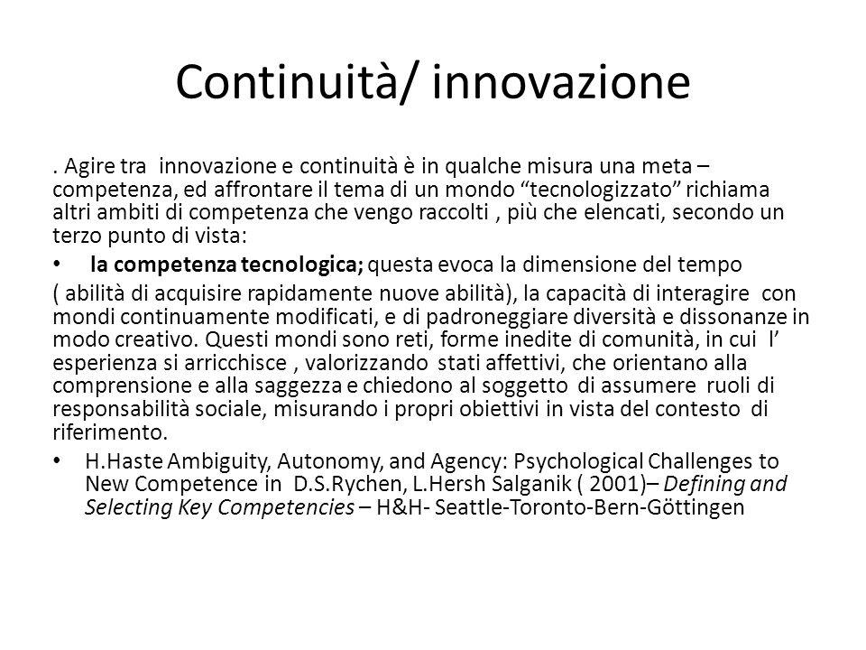 Continuità/ innovazione.