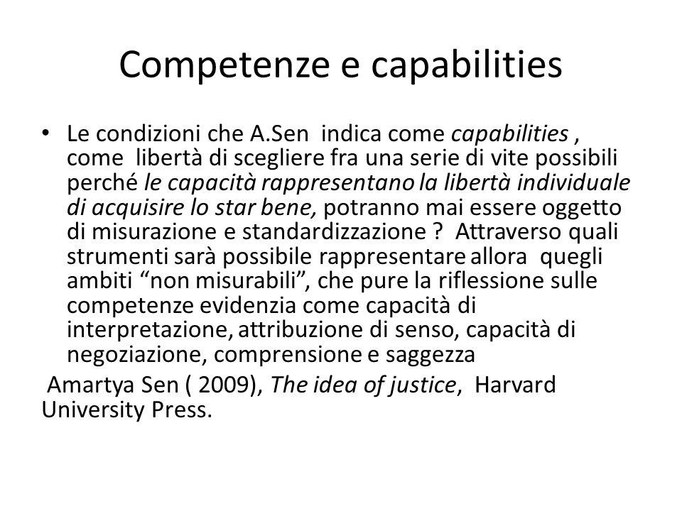 Competenze e capabilities Le condizioni che A.Sen indica come capabilities, come libertà di scegliere fra una serie di vite possibili perché le capacità rappresentano la libertà individuale di acquisire lo star bene, potranno mai essere oggetto di misurazione e standardizzazione .