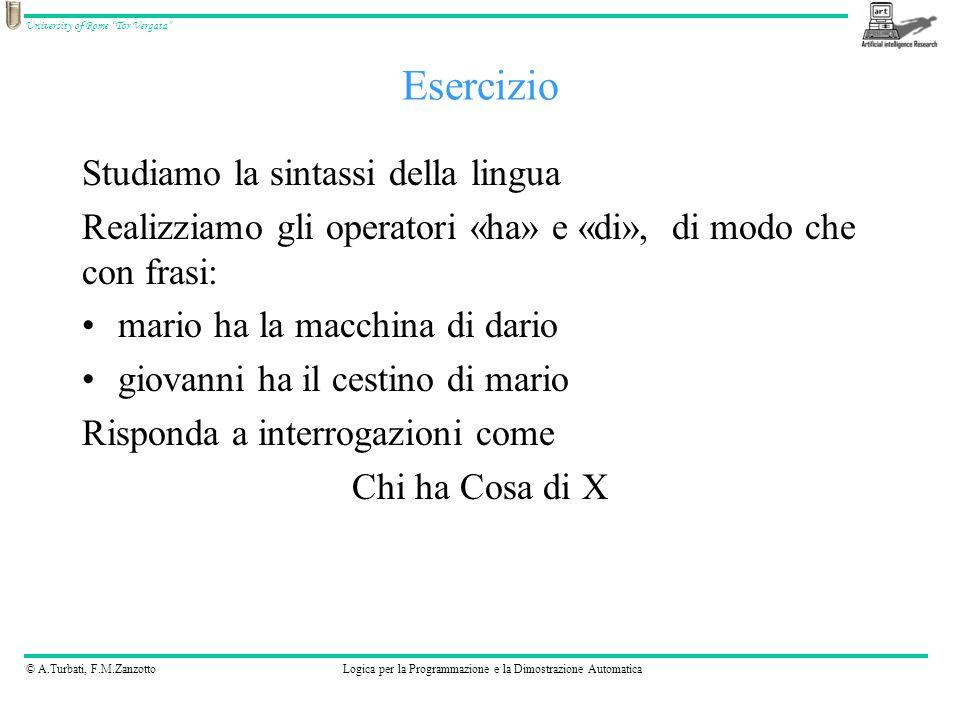 © A.Turbati, F.M.ZanzottoLogica per la Programmazione e la Dimostrazione Automatica University of Rome Tor Vergata Esercizio Studiamo la sintassi della lingua Realizziamo gli operatori «ha» e «di», di modo che con frasi: mario ha la macchina di dario giovanni ha il cestino di mario Risponda a interrogazioni come Chi ha Cosa di X