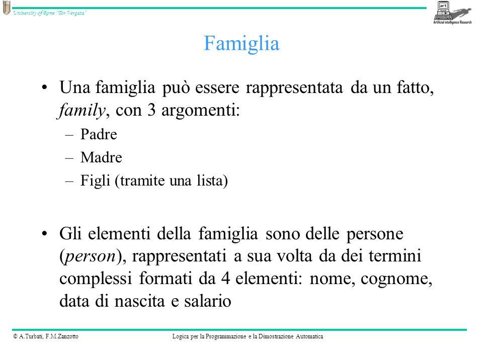 © A.Turbati, F.M.ZanzottoLogica per la Programmazione e la Dimostrazione Automatica University of Rome Tor Vergata Rappresentazione della famiglia Smith family( person(bob, smith, date(7, may,1968),30000), person(ann, smith, date(18, july,1970),32000), [person(dave, smith, date(1, june,1984),0), person(edna, smith, date(25, may,1990),0)]).
