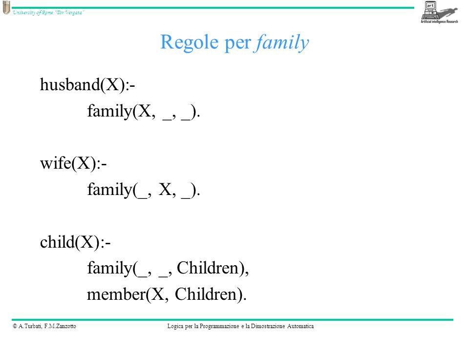 © A.Turbati, F.M.ZanzottoLogica per la Programmazione e la Dimostrazione Automatica University of Rome Tor Vergata exists(X):- husband(X) ; wife(X) ; child(X).