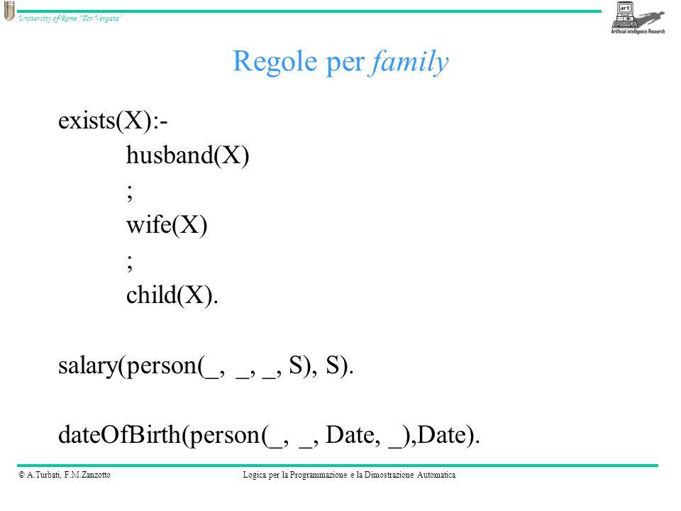 © A.Turbati, F.M.ZanzottoLogica per la Programmazione e la Dimostrazione Automatica University of Rome Tor Vergata In Prolog è possibile definire nuovi operatori, ma ne esistono già alcuni definiti (esempio gli operatori aritmetici) 1*2+3*4 ha i due operatori + e * la scrittura in Prolog sarebbe: –+(*(1,2), *(3,4)) Operatori 123 4 * + *