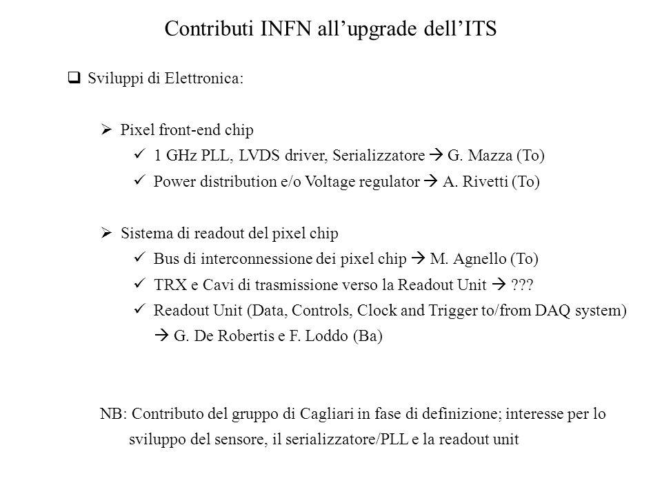  Sviluppi di Elettronica:  Pixel front-end chip 1 GHz PLL, LVDS driver, Serializzatore  G.