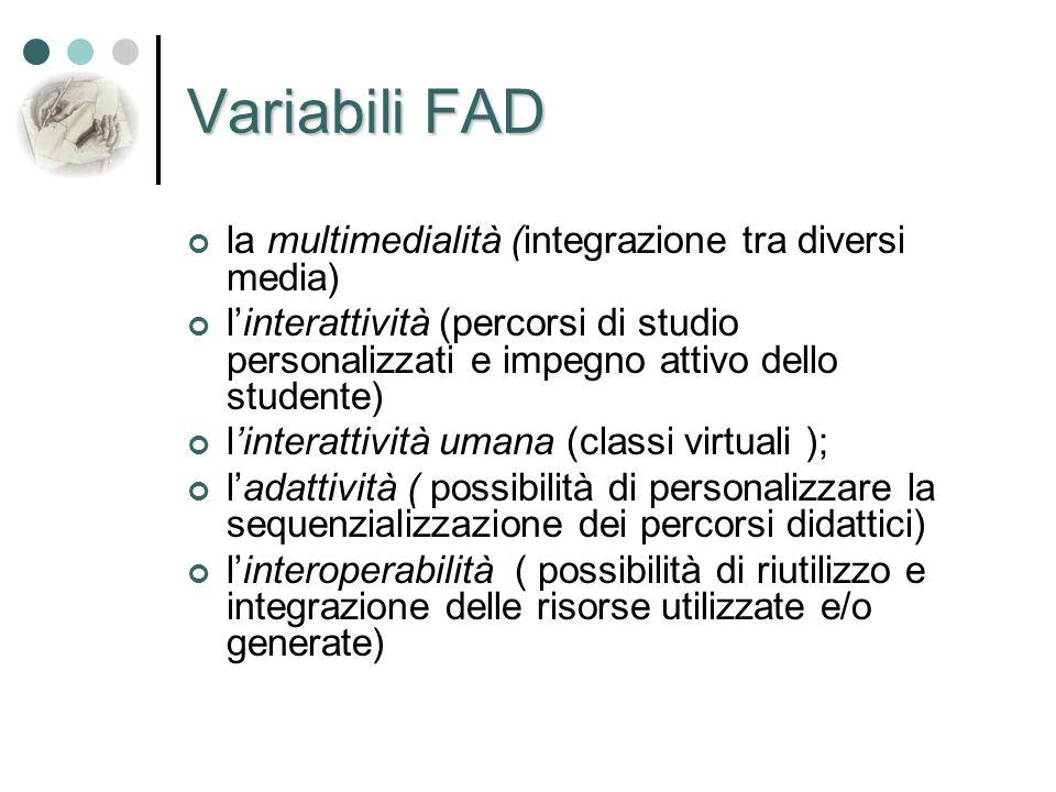 Variabili FAD la multimedialità (integrazione tra diversi media) l'interattività (percorsi di studio personalizzati e impegno attivo dello studente) l
