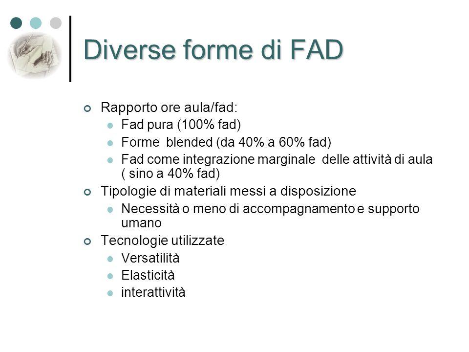 Diverse forme di FAD Rapporto ore aula/fad: Fad pura (100% fad) Forme blended (da 40% a 60% fad) Fad come integrazione marginale delle attività di aul