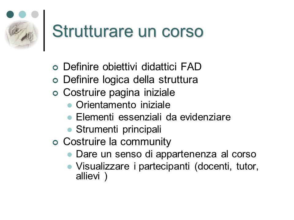 Strutturare un corso Definire obiettivi didattici FAD Definire logica della struttura Costruire pagina iniziale Orientamento iniziale Elementi essenzi