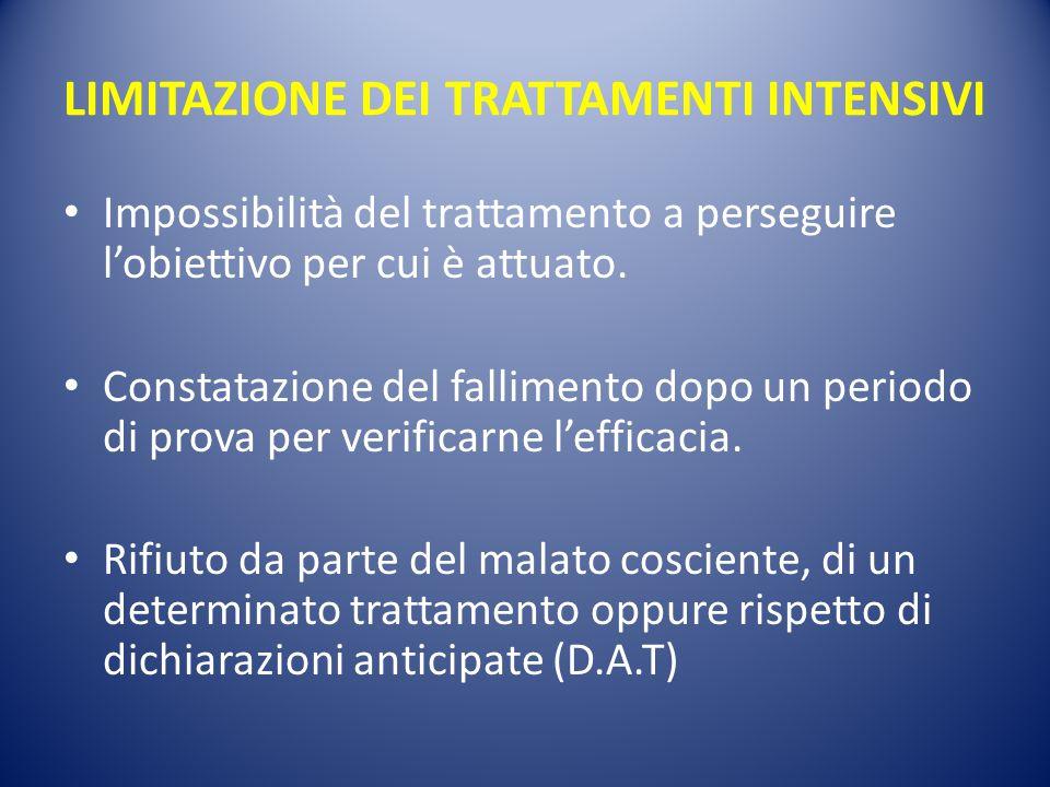 LIMITAZIONE DEI TRATTAMENTI INTENSIVI Impossibilità del trattamento a perseguire l'obiettivo per cui è attuato. Constatazione del fallimento dopo un p