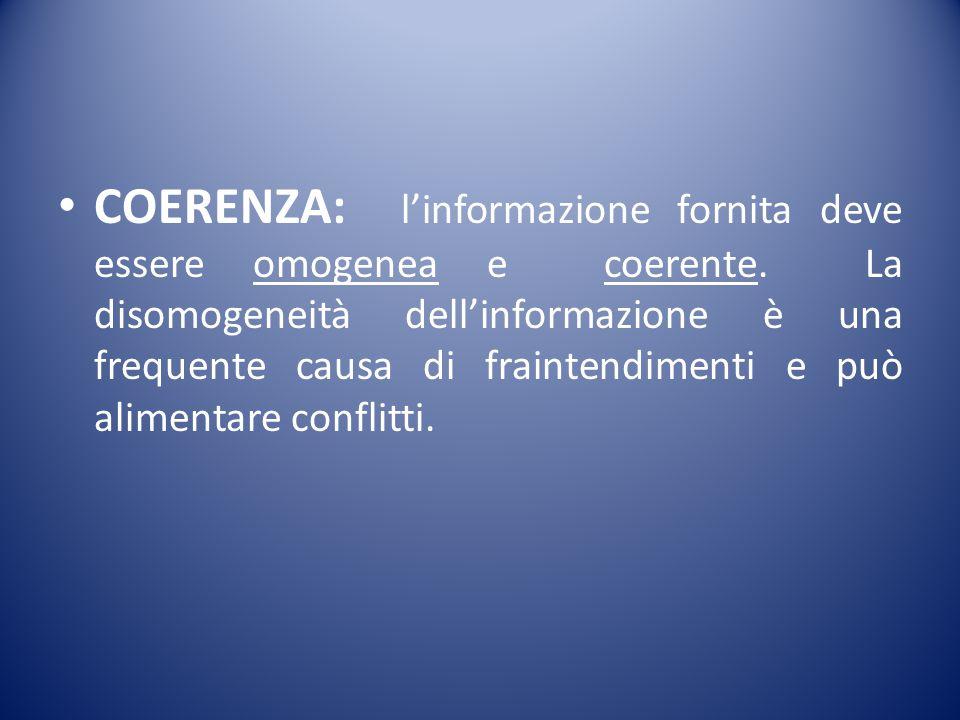 COERENZA: l'informazione fornita deve essere omogenea e coerente. La disomogeneità dell'informazione è una frequente causa di fraintendimenti e può al