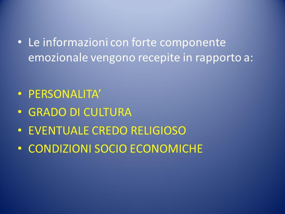 Le informazioni con forte componente emozionale vengono recepite in rapporto a: PERSONALITA' GRADO DI CULTURA EVENTUALE CREDO RELIGIOSO CONDIZIONI SOC