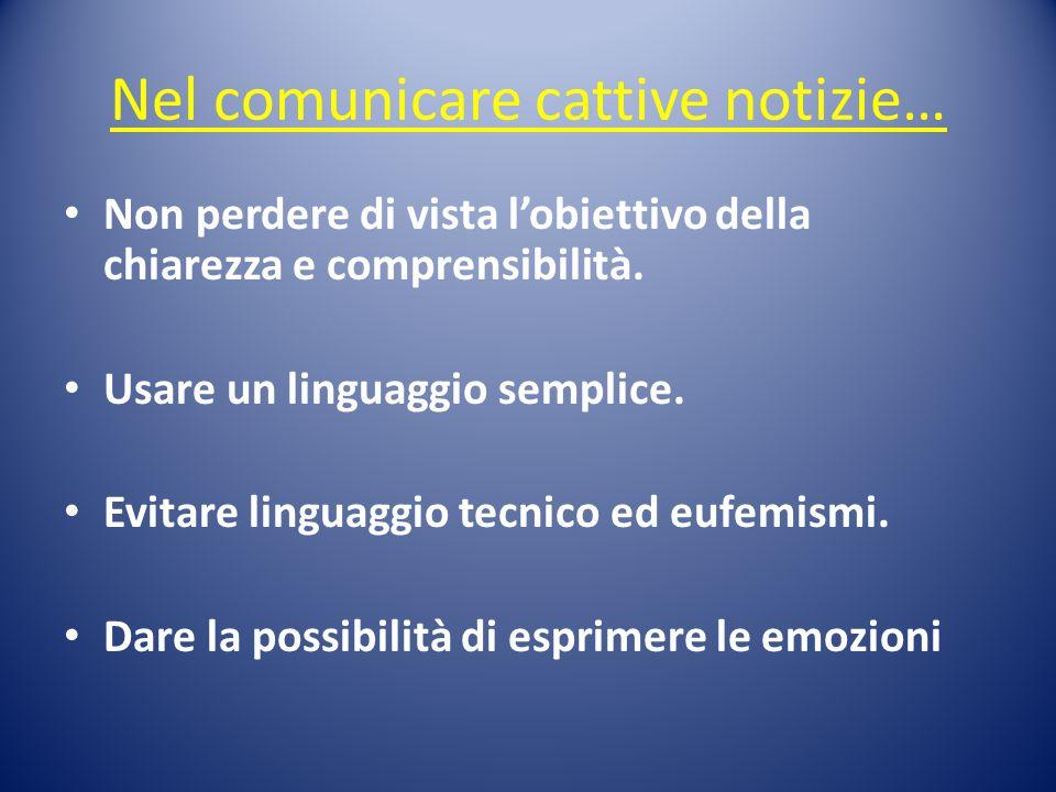 Nel comunicare cattive notizie… Non perdere di vista l'obiettivo della chiarezza e comprensibilità. Usare un linguaggio semplice. Evitare linguaggio t