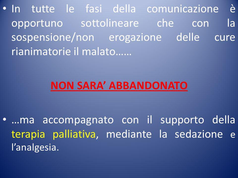 In tutte le fasi della comunicazione è opportuno sottolineare che con la sospensione/non erogazione delle cure rianimatorie il malato…… NON SARA' ABBA