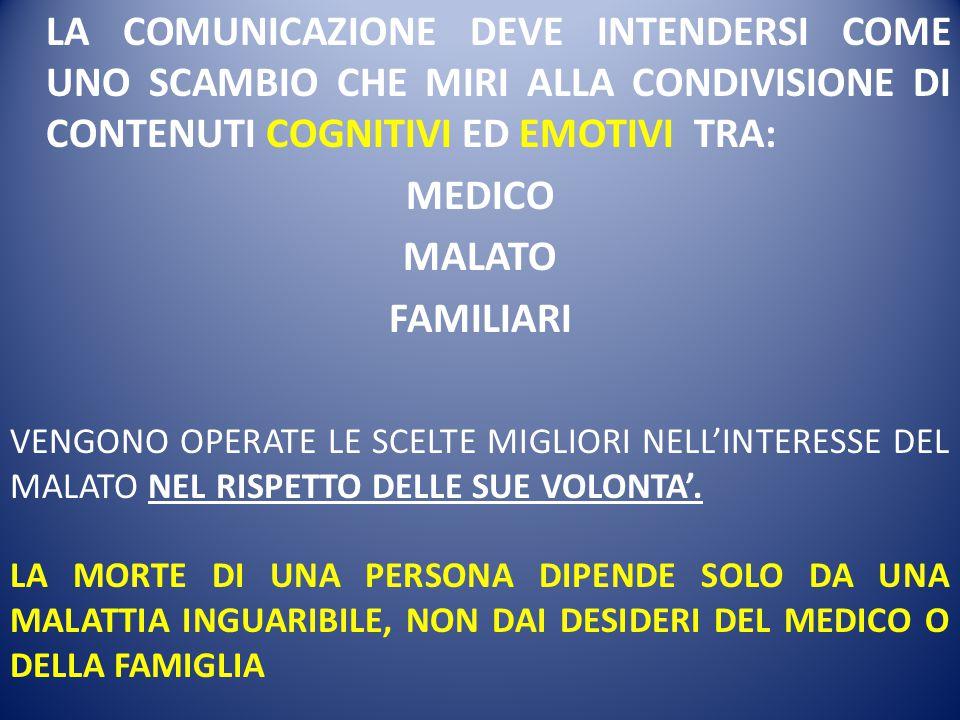 LA COMUNICAZIONE DEVE INTENDERSI COME UNO SCAMBIO CHE MIRI ALLA CONDIVISIONE DI CONTENUTI COGNITIVI ED EMOTIVI TRA: MEDICO MALATO FAMILIARI VENGONO OP