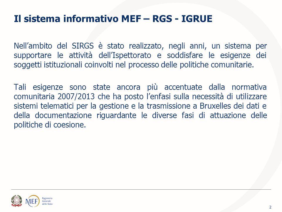 Il sistema informativo MEF – RGS - IGRUE Nell'ambito del SIRGS è stato realizzato, negli anni, un sistema per supportare le attività dell'Ispettorato