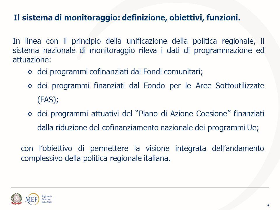 In linea con il principio della unificazione della politica regionale, il sistema nazionale di monitoraggio rileva i dati di programmazione ed attuazi