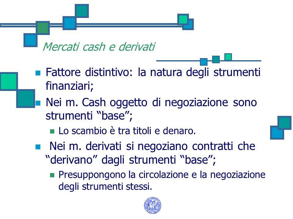 """Mercati cash e derivati Fattore distintivo: la natura degli strumenti finanziari; Nei m. Cash oggetto di negoziazione sono strumenti """"base""""; Lo scambi"""