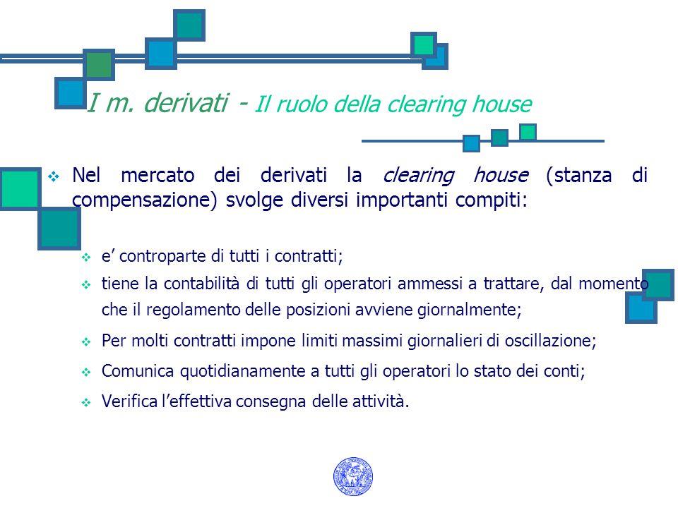 I m. derivati - Il ruolo della clearing house  Nel mercato dei derivati la clearing house (stanza di compensazione) svolge diversi importanti compiti