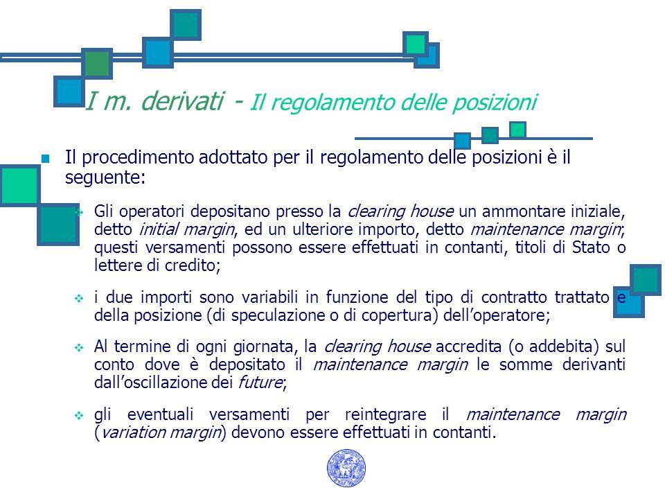 I m. derivati - Il regolamento delle posizioni Il procedimento adottato per il regolamento delle posizioni è il seguente:  Gli operatori depositano p