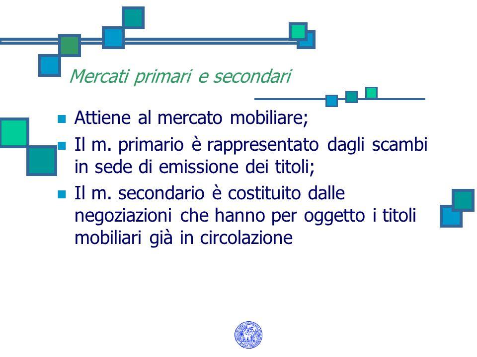 Mercati primari e secondari Attiene al mercato mobiliare; Il m.