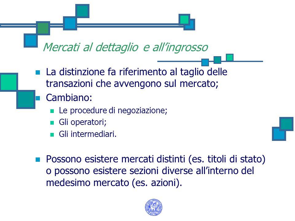 Mercati al dettaglio e all'ingrosso La distinzione fa riferimento al taglio delle transazioni che avvengono sul mercato; Cambiano: Le procedure di negoziazione; Gli operatori; Gli intermediari.