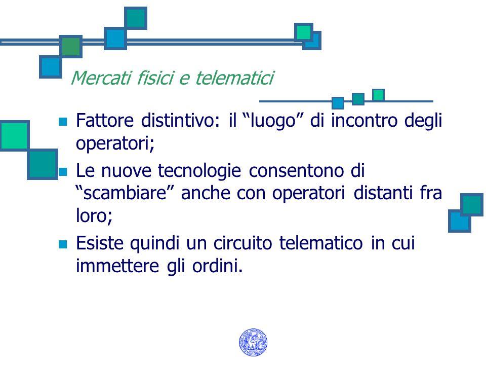 """Mercati fisici e telematici Fattore distintivo: il """"luogo"""" di incontro degli operatori; Le nuove tecnologie consentono di """"scambiare"""" anche con operat"""