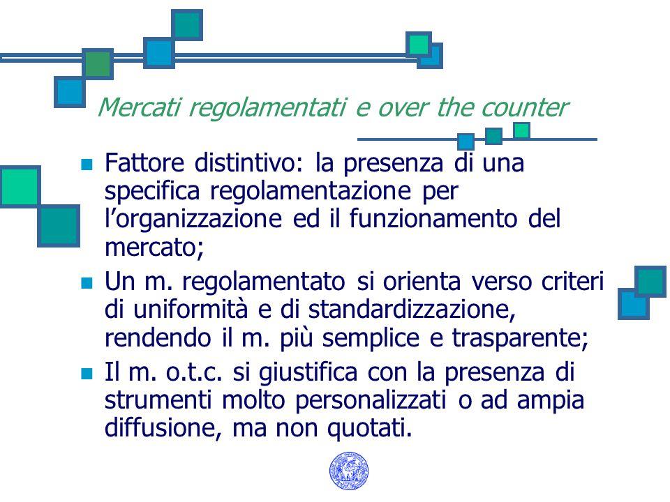 Mercati regolamentati e over the counter Fattore distintivo: la presenza di una specifica regolamentazione per l'organizzazione ed il funzionamento del mercato; Un m.
