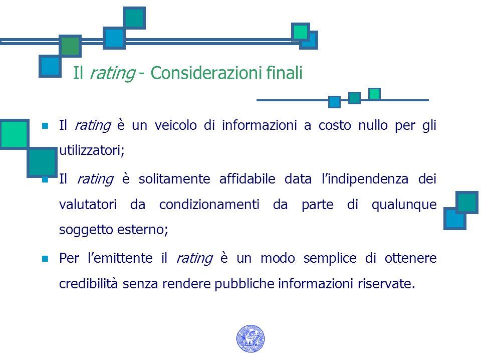 Il rating - Considerazioni finali Il rating è un veicolo di informazioni a costo nullo per gli utilizzatori; Il rating è solitamente affidabile data l'indipendenza dei valutatori da condizionamenti da parte di qualunque soggetto esterno; Per l'emittente il rating è un modo semplice di ottenere credibilità senza rendere pubbliche informazioni riservate.