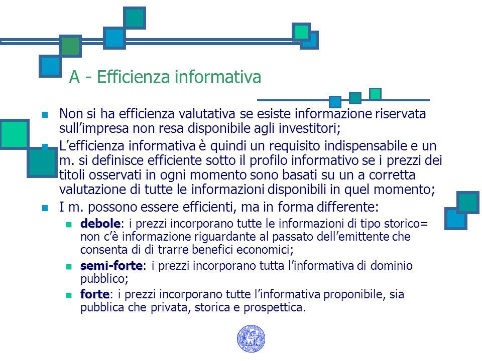 A - Efficienza informativa Non si ha efficienza valutativa se esiste informazione riservata sull'impresa non resa disponibile agli investitori; L'efficienza informativa è quindi un requisito indispensabile e un m.