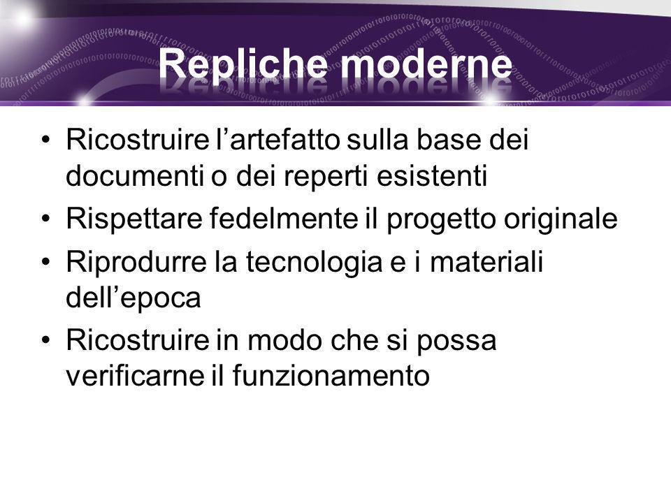Ricostruire l'artefatto sulla base dei documenti o dei reperti esistenti Rispettare fedelmente il progetto originale Riprodurre la tecnologia e i mate