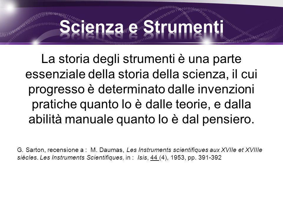 La storia degli strumenti è una parte essenziale della storia della scienza, il cui progresso è determinato dalle invenzioni pratiche quanto lo è dall